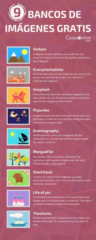 Infografia - 9 bancos de imágenes gratis #infografia...