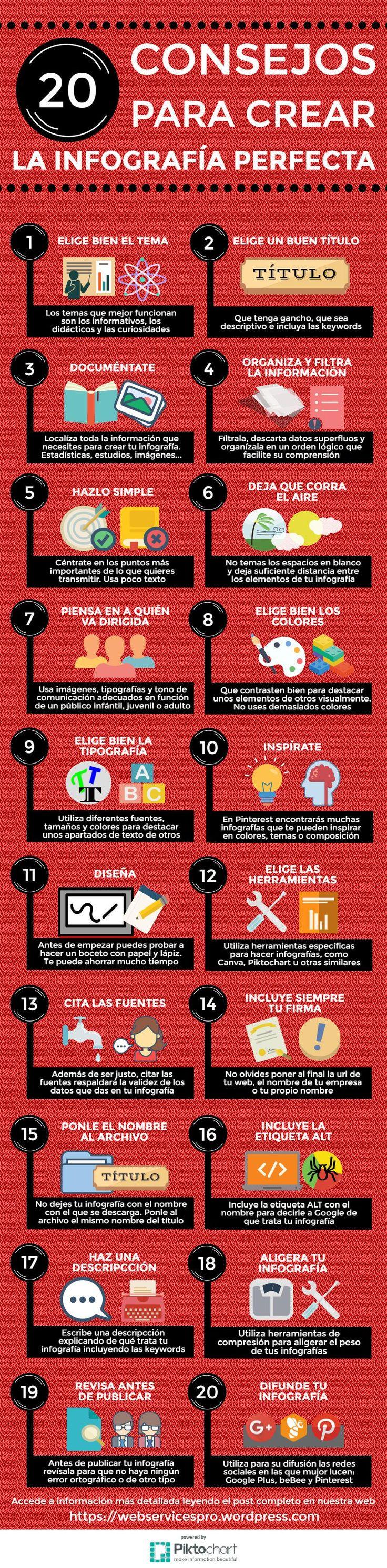 Infografia - Si quieres crear una infografía perfecta toma nota de estos veinte consejos que...