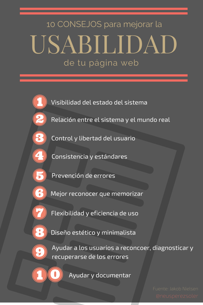 10 Consejos Para Mejorar La Usabilidad De Páginas Web #infografia #infographic
