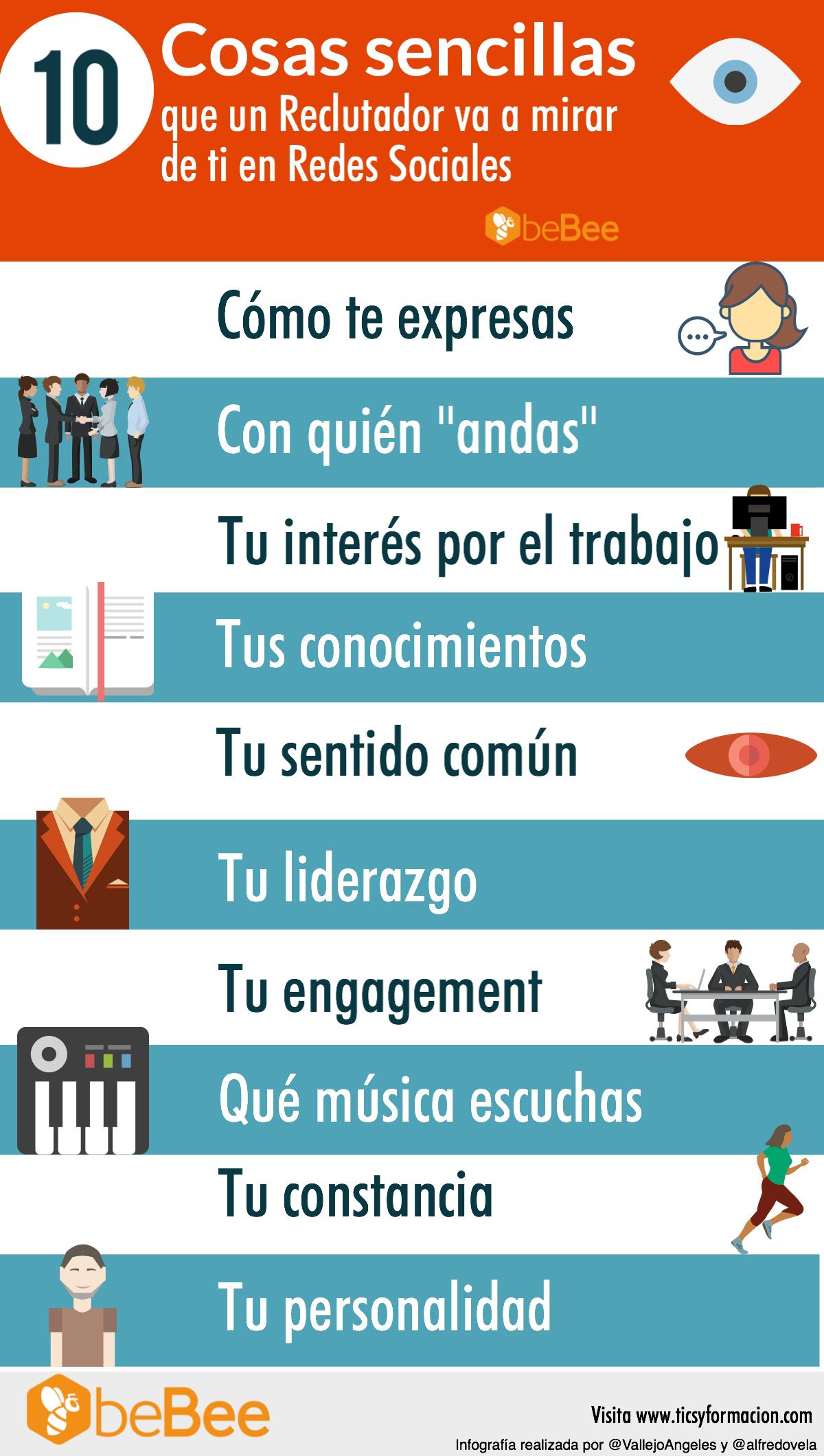 10 cosas sencillas que un reclutador va a ver de ti en Redes Sociales #infografia #socialmedia #rrhh #empleo