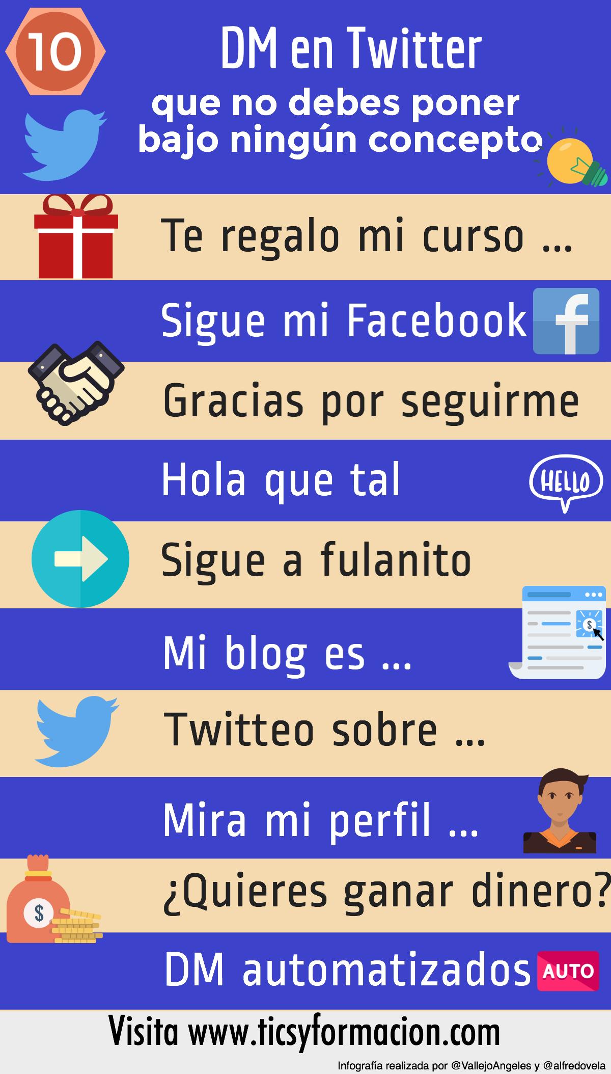 10 DM en Twitter que NO debes poner bajo ningún concepto #infografia #socialmedia