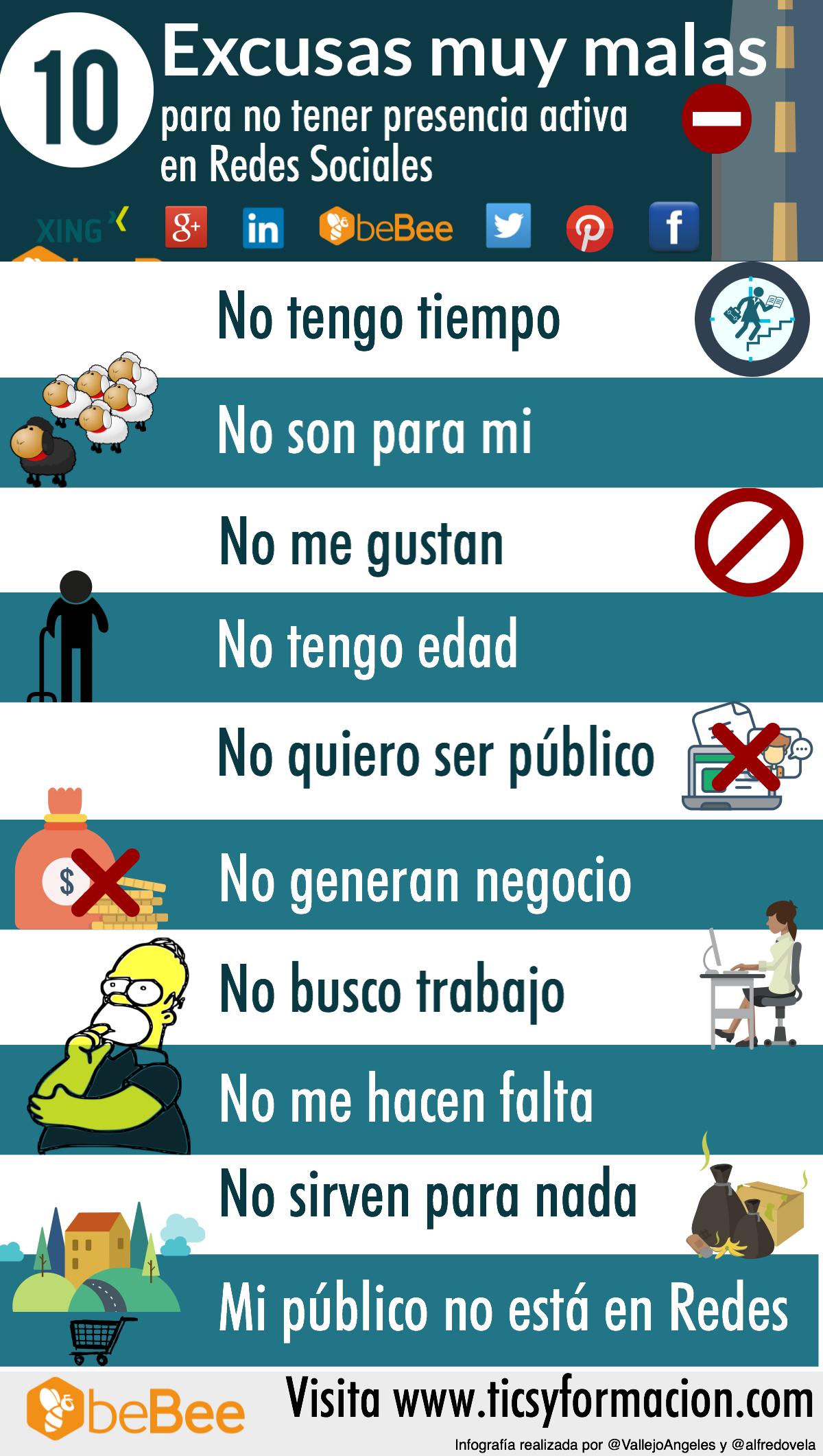 10 muy malas excusas para no tener presencia activa en Redes Sociales #infografia #infographic #socialmedia