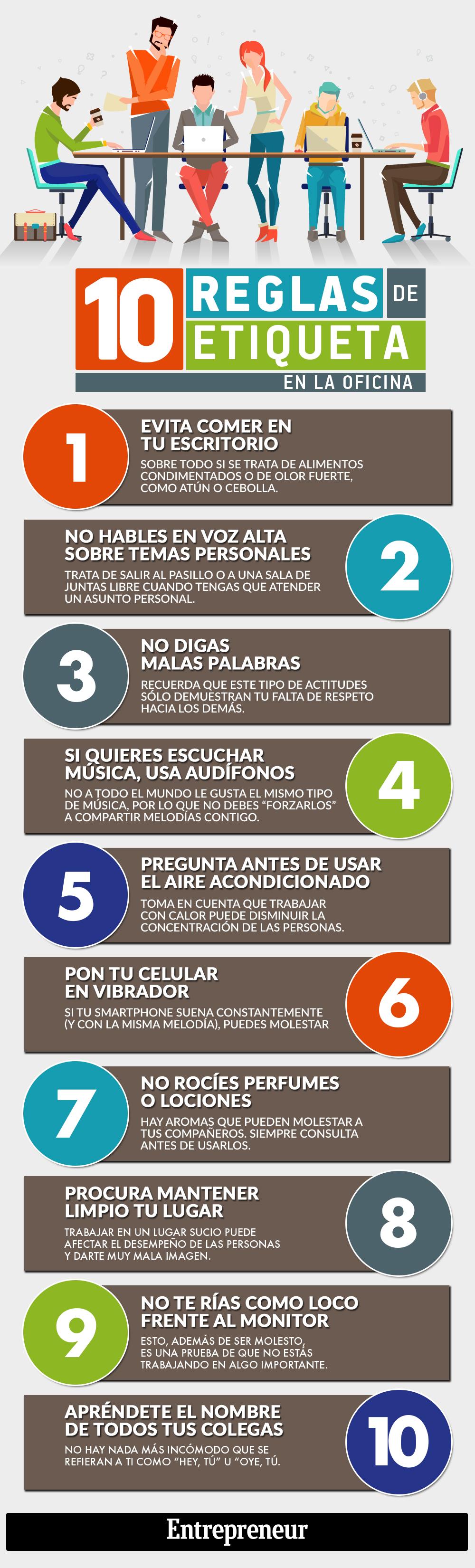 10 reglas de etiqueta en la Oficina #infografia #infographic #rrhh