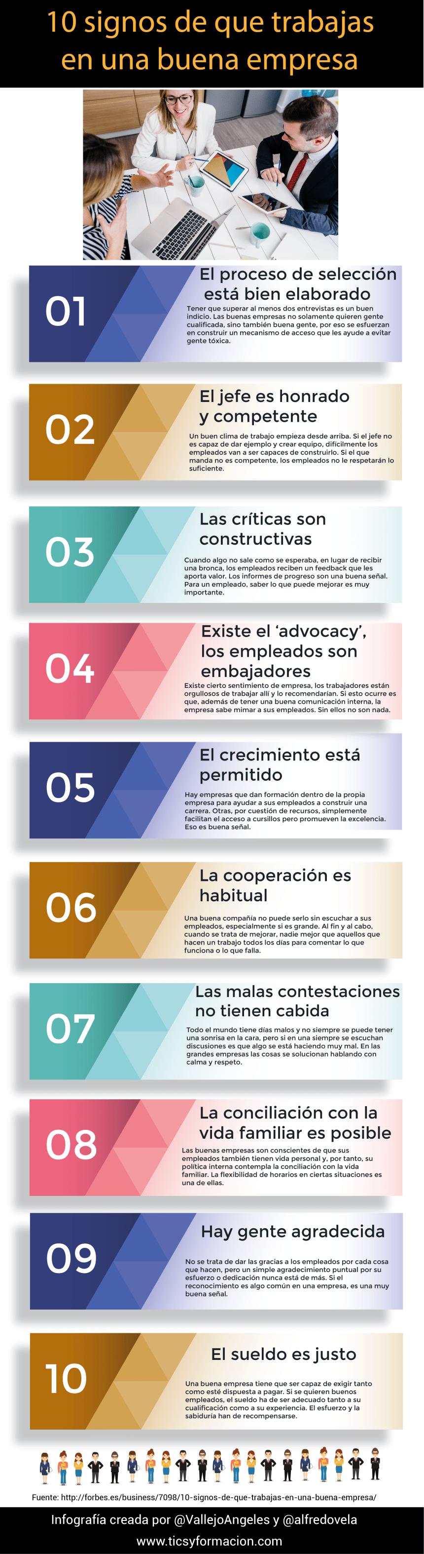 10 signos de que trabajas en una buena empresa #infografia #infographic #rrhh