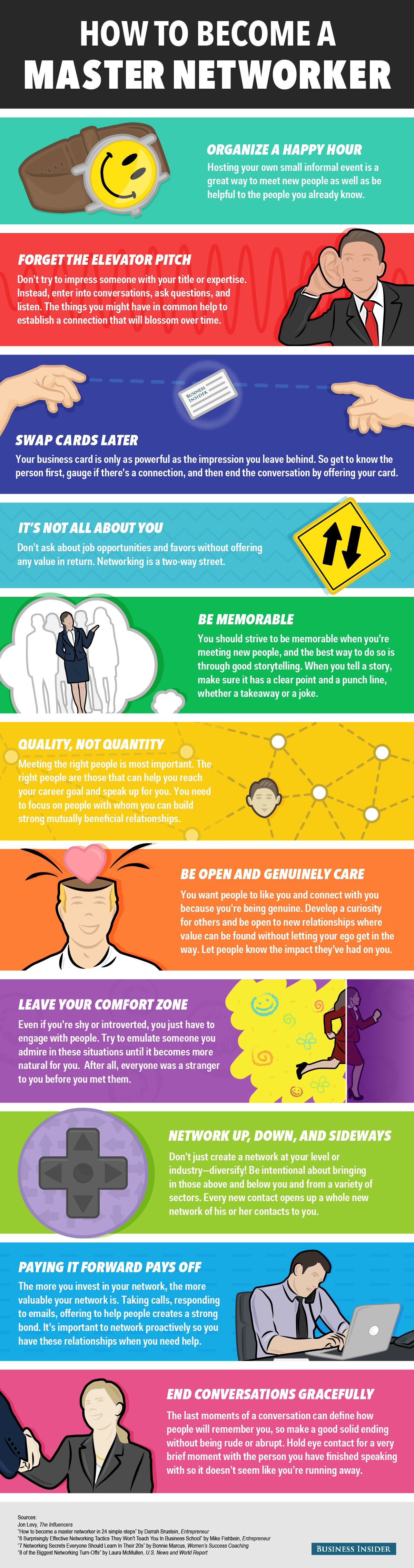 Infografia - 11 simple things you can do to become a master networker