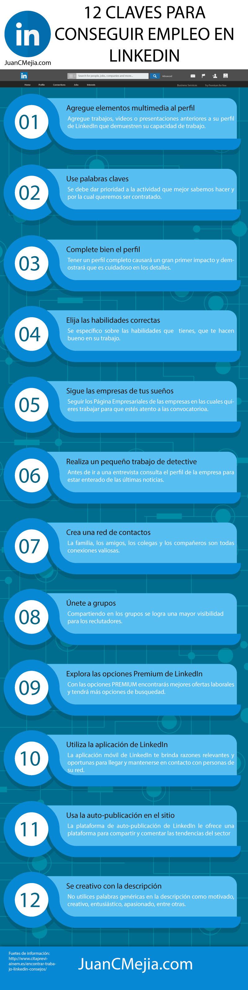 12 claves para conseguir empleo en LinkedIn #infografia #empleo #socialmedia