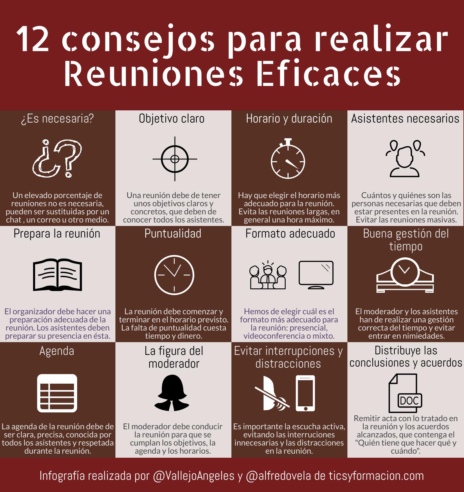 12 consejos para realizar Reuniones Eficaces #infografia #infographic #gestióndeltiempo #rrhh