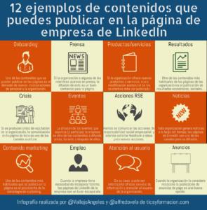 12 ejemplos de contenidos que puedes publicar en la página de empresa de LinkedIn #Infografia #Contenidos #SocialMedia