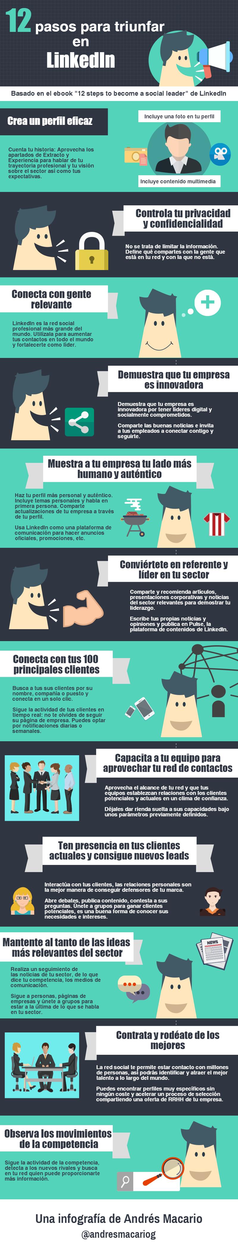 12 pasos para triunfar en LinkedIn #infografia #infographic #socialmedia