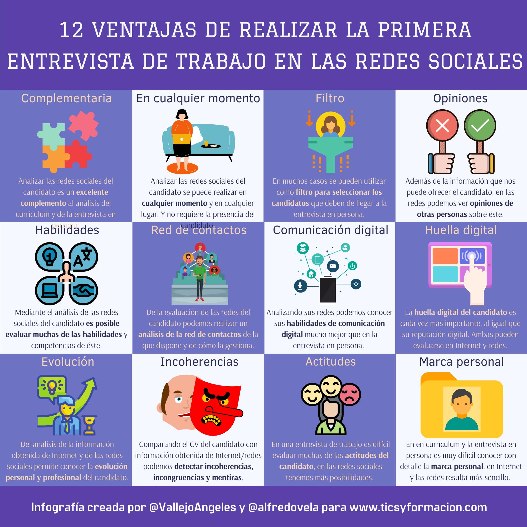12 ventajas de realizar la primera entrevista de trabajo en redes sociales #infografia #rrhh #socialmedia