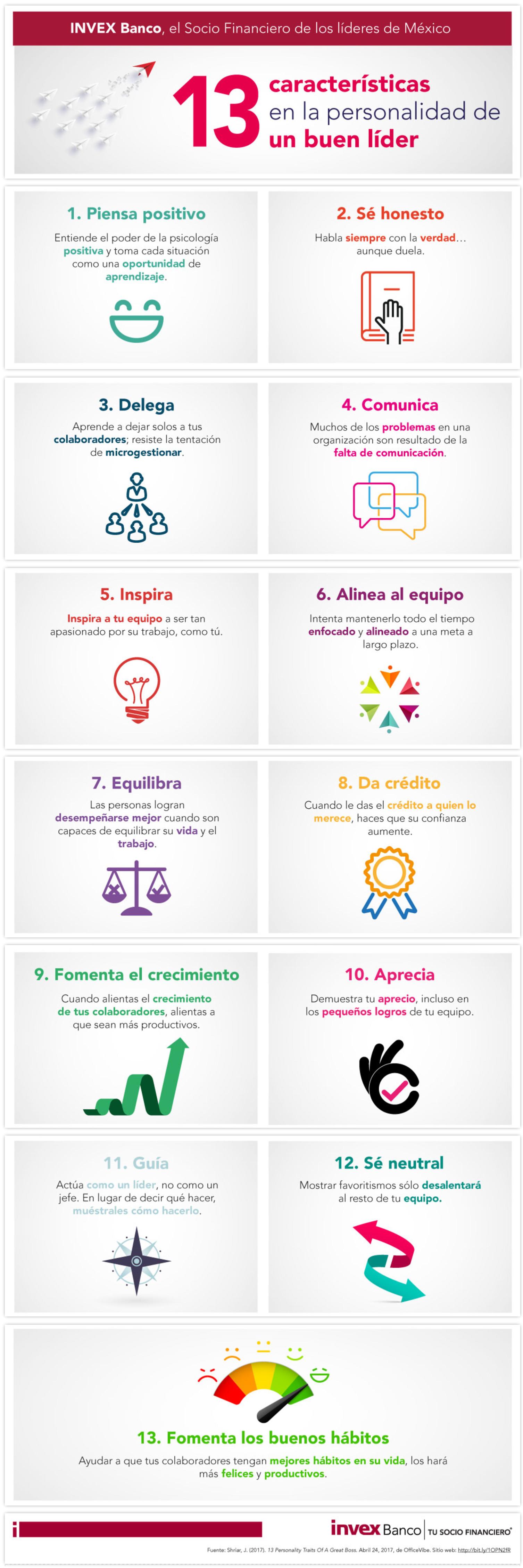 13 características en la personalidad de un buen líder #infografia #infographic #leadership