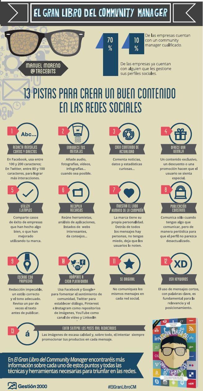 Infografia - 13 pistas para crear buen contenido en las redes sociales [Infografía] #ElGranLibroCM