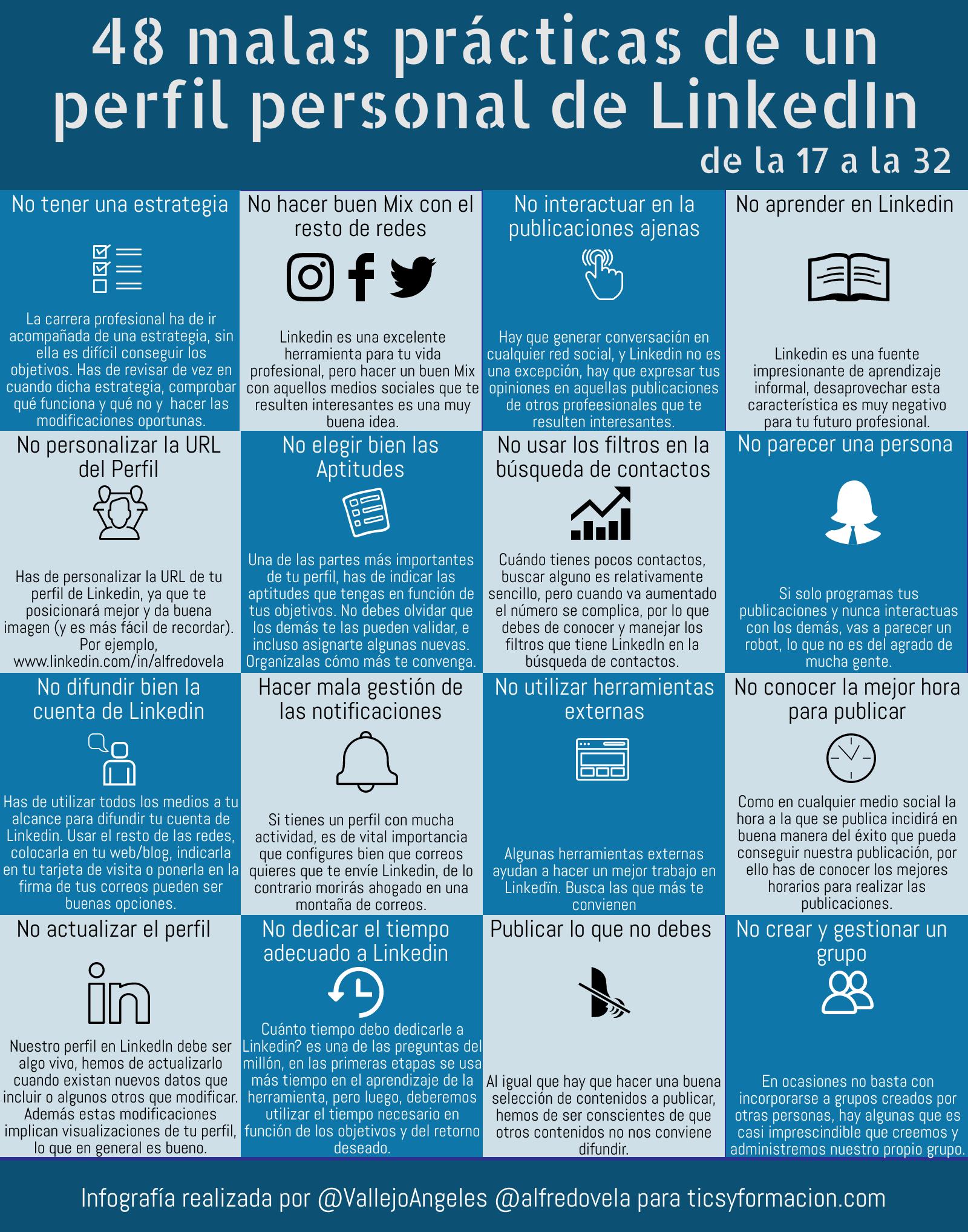 48 malas prácticas de un perfil personal en LinkedIn (de la 17 a la 32) #infografia #infographic #socialmedia