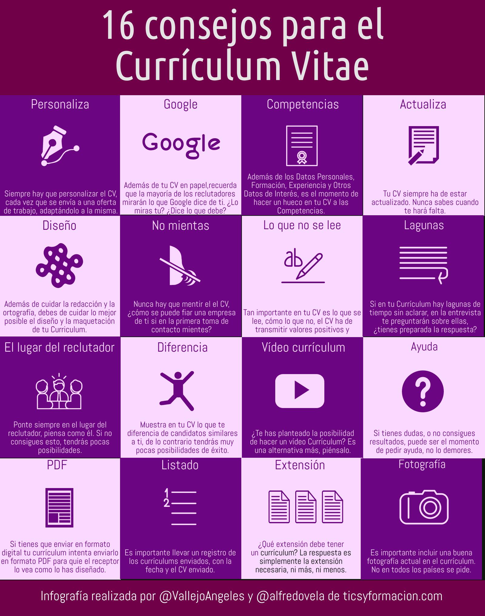 16 consejos para tu Currículum Vitae #Infografia #Empleo #FOL #OrientaciónLaboral