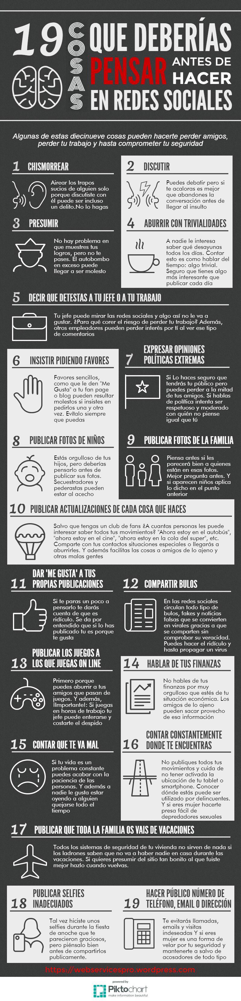 19 Cosas que deberías pensar antes de hacer en redes sociales #infografia #socialmedia