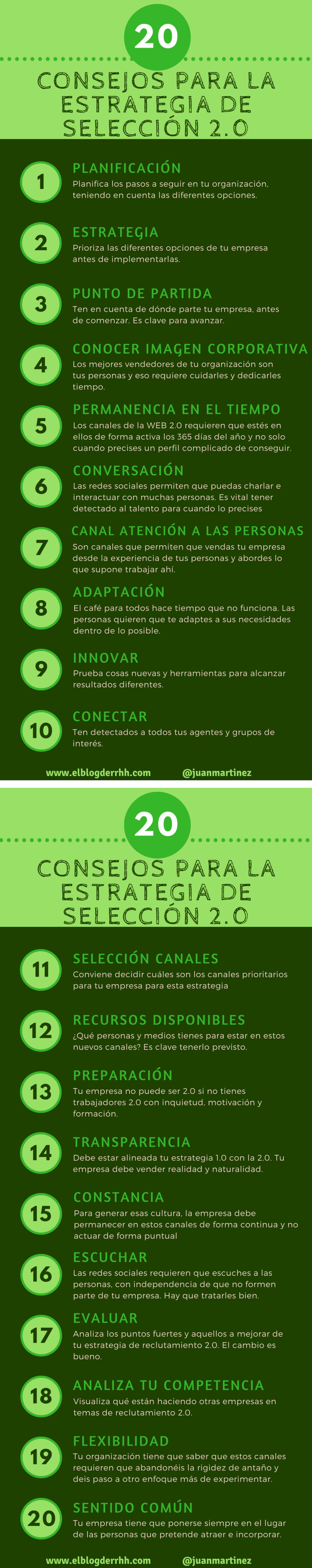 20 consejos para la estrategia de selección 2.0 #infografia #socialmedia #rrhh