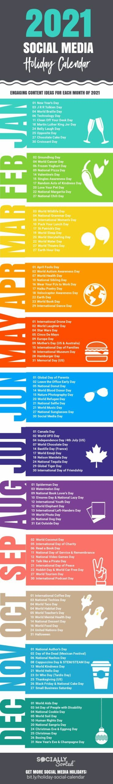 Infografia - 2021 Social Media Content Calendar Packed with Post Ideas [Infographic]