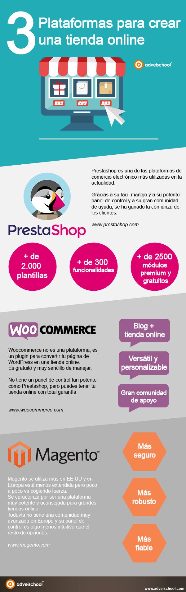 3 plataformas para crear una Tienda Online #infografia #infographic #ecommerce