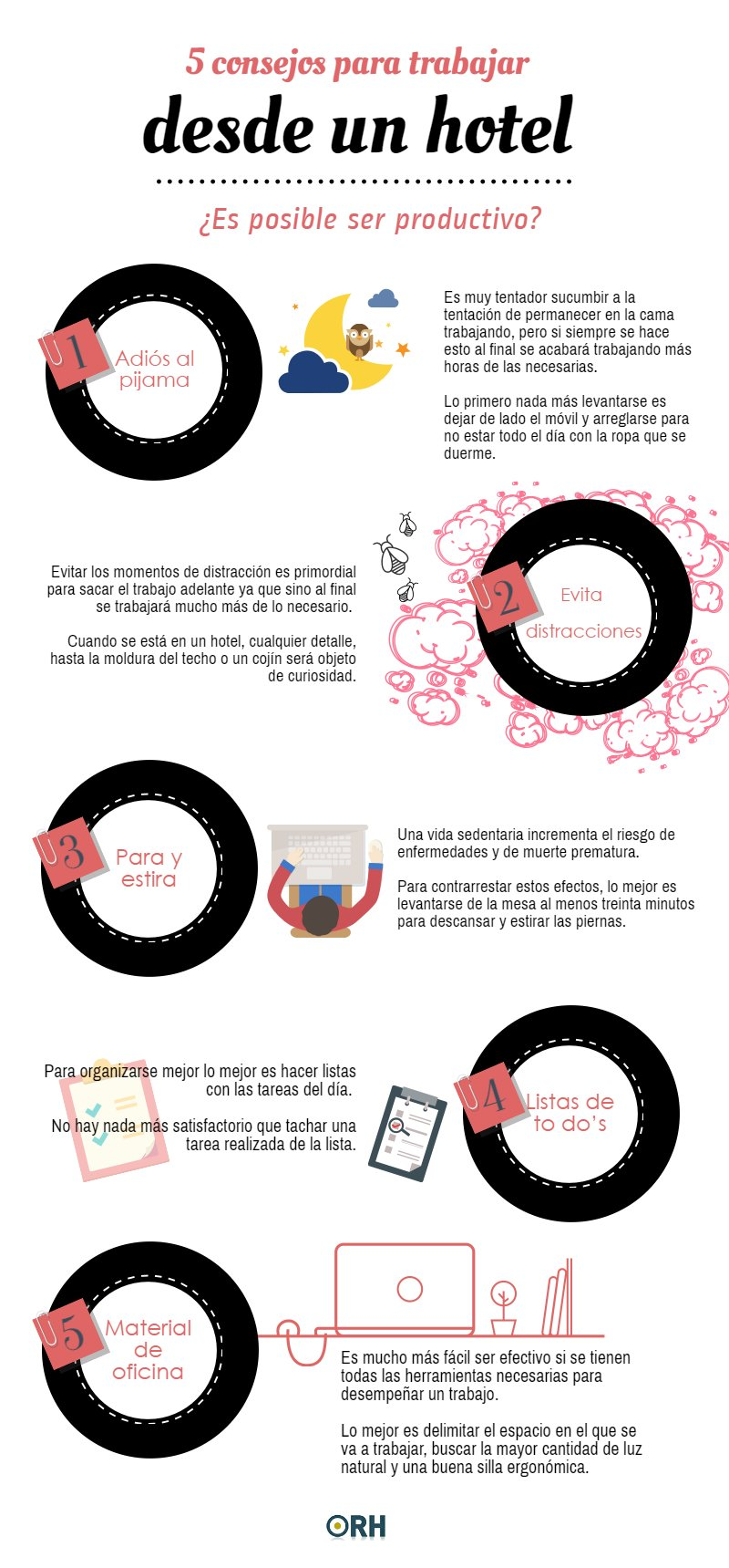 5 consejos para trabajar desde un Hotel #infografia #infographic #rrhh