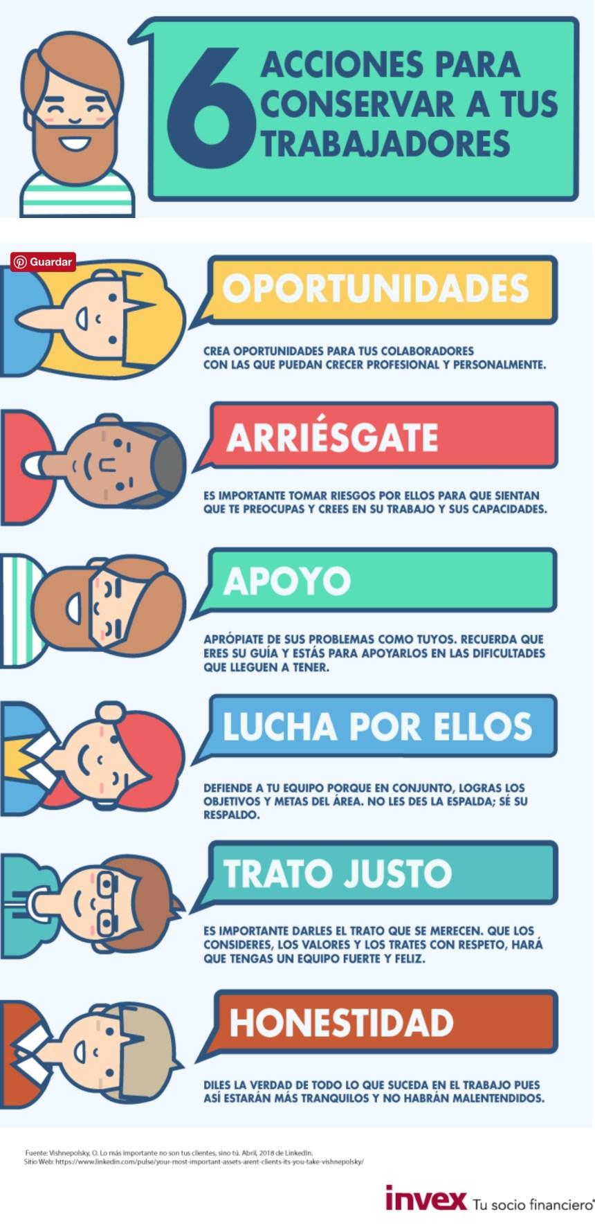 6 acciones para conservar a tus trabajadores #infografia #infographic #rrhh