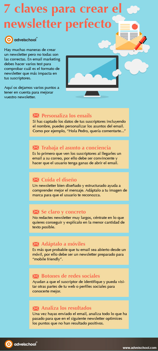 7 claves para crear una NewsLetter perfecta #infografia #infographic #marketing