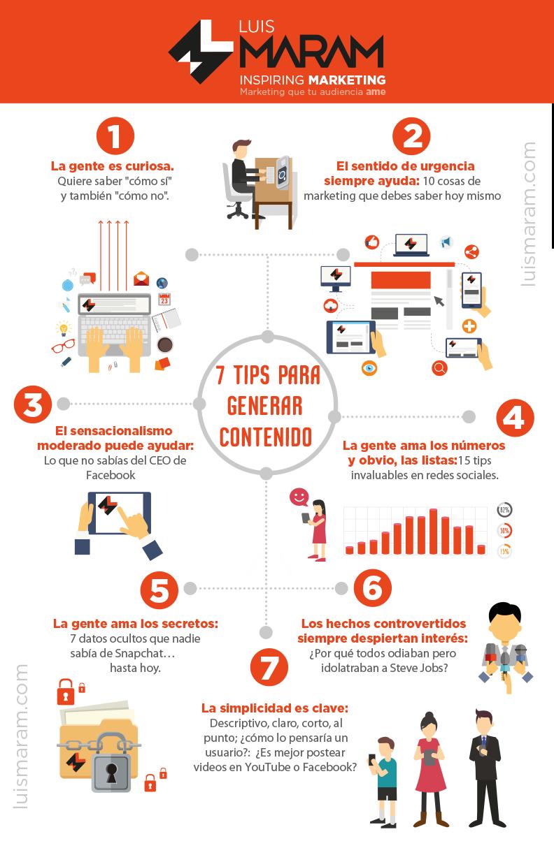 7  consejos para generar contenido #infografia #infographic #marketing