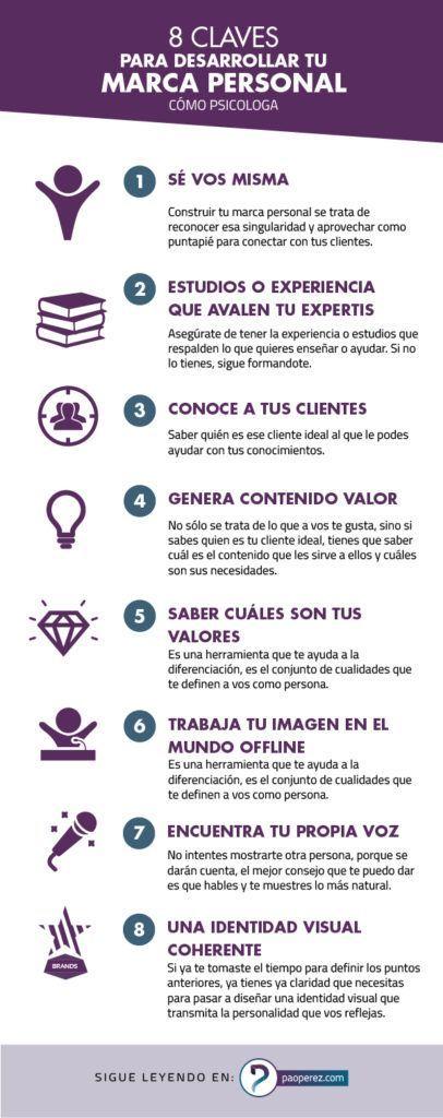 Infografia - 8 claves para desarrollar tu marca personal - Marca Personal & Branding Visual para Psicólogas Y Coaches
