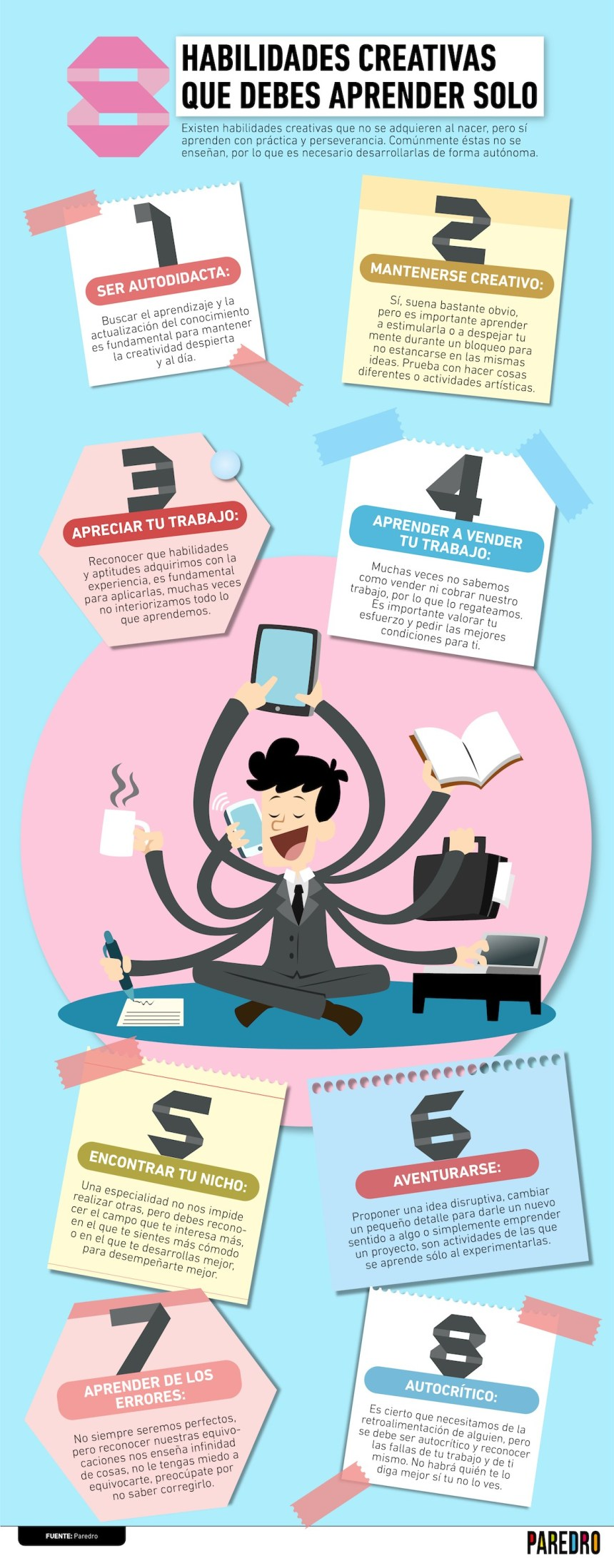 8 habilidades creativas que debes de aprender solo #infografia #infographic #design