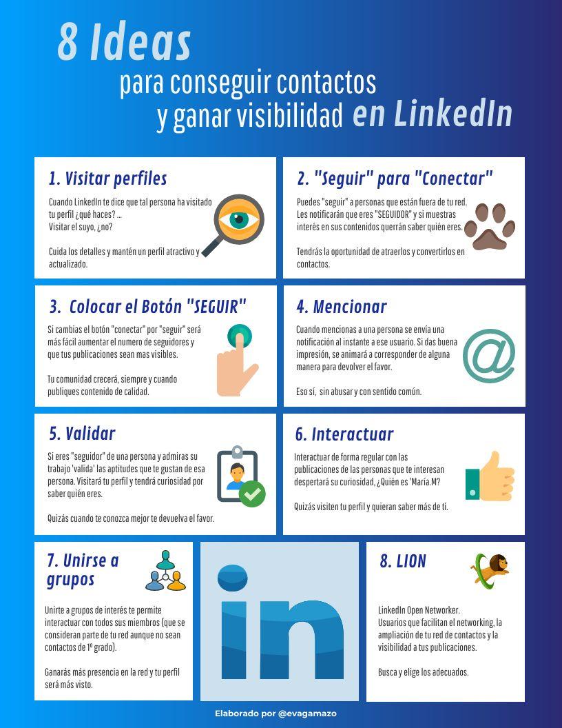 8 ideas para conseguir contactos y ganar visibilidad en LinkedIn #infografia #socialmedia