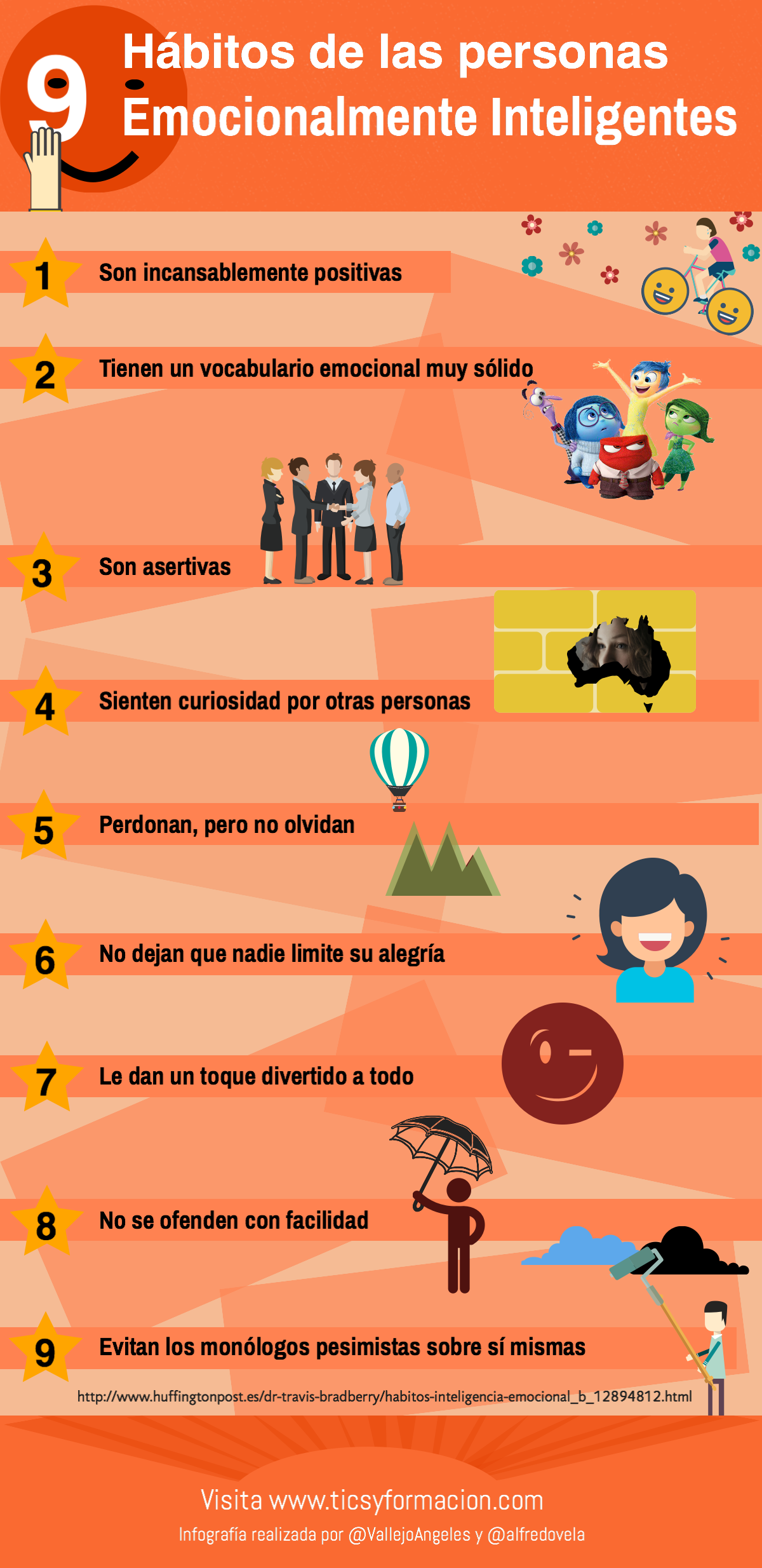 9 hábitos de las personas Emocionalmente Inteligentes #infografia #infographic