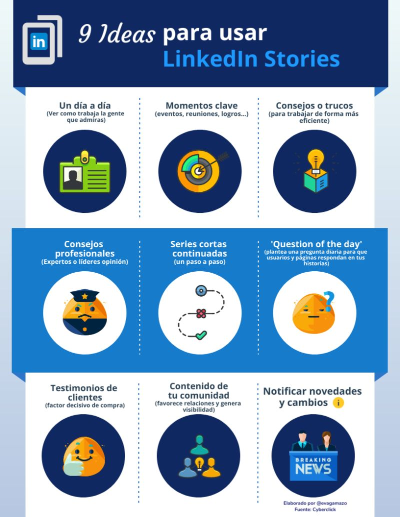 9 ideas para usar LinkedIn Stories #infografia #infographic #socialmedia