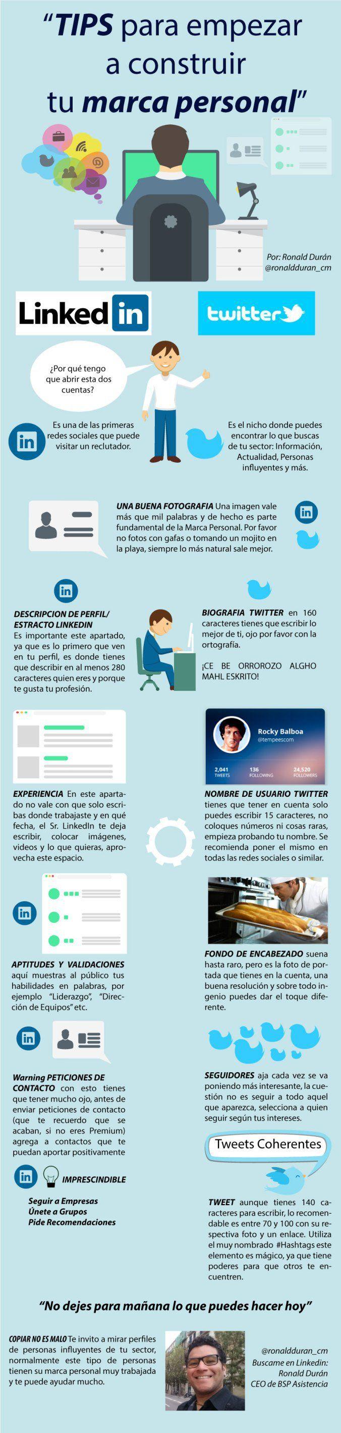 Consejos Para Construir Tu Marca Personal #infografia en español #CommunityManager
