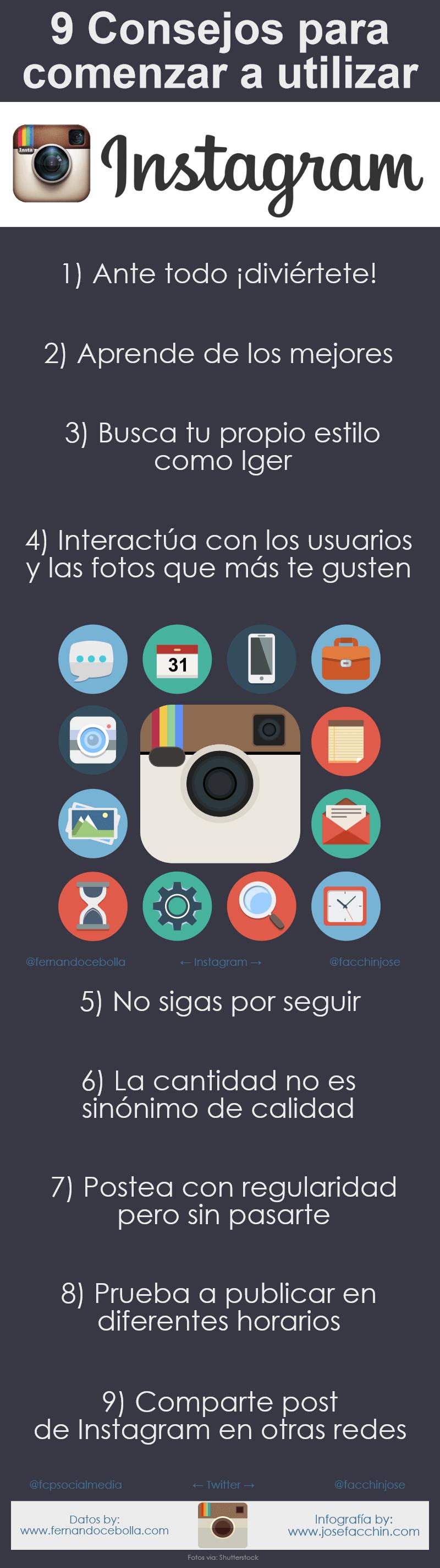 9 consejos para comenzar a usar Instagram #infografia #infographic #socialmedia