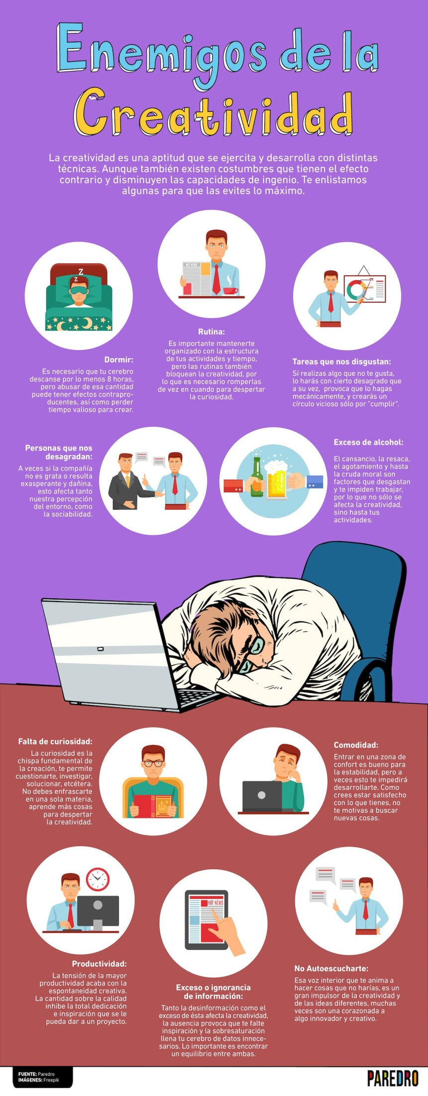 Enemigos de la Creatividad #infografia #infographic #creatividad