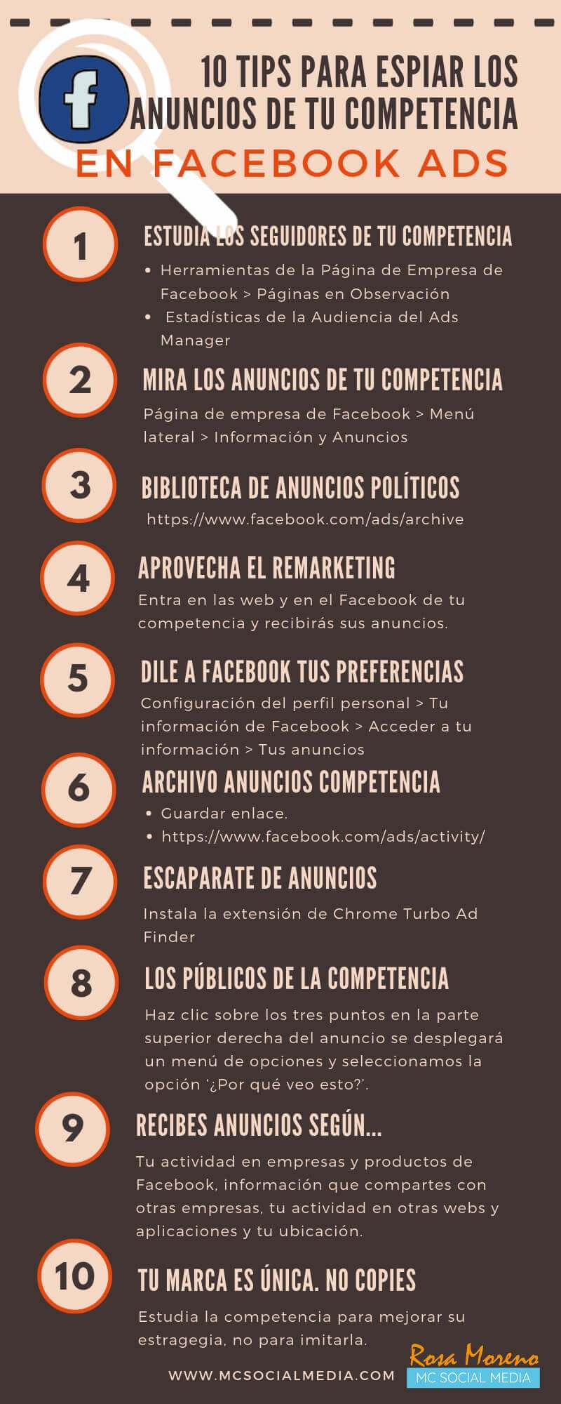 10 consejos para espiar los anuncios de la competencia en Facebook Ads #infografia #socialmedia
