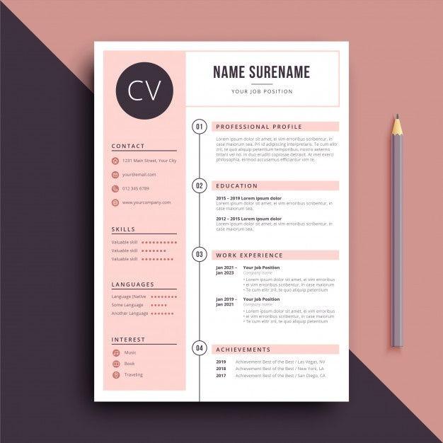 Infografia - Feminine Color Resume Cv Template