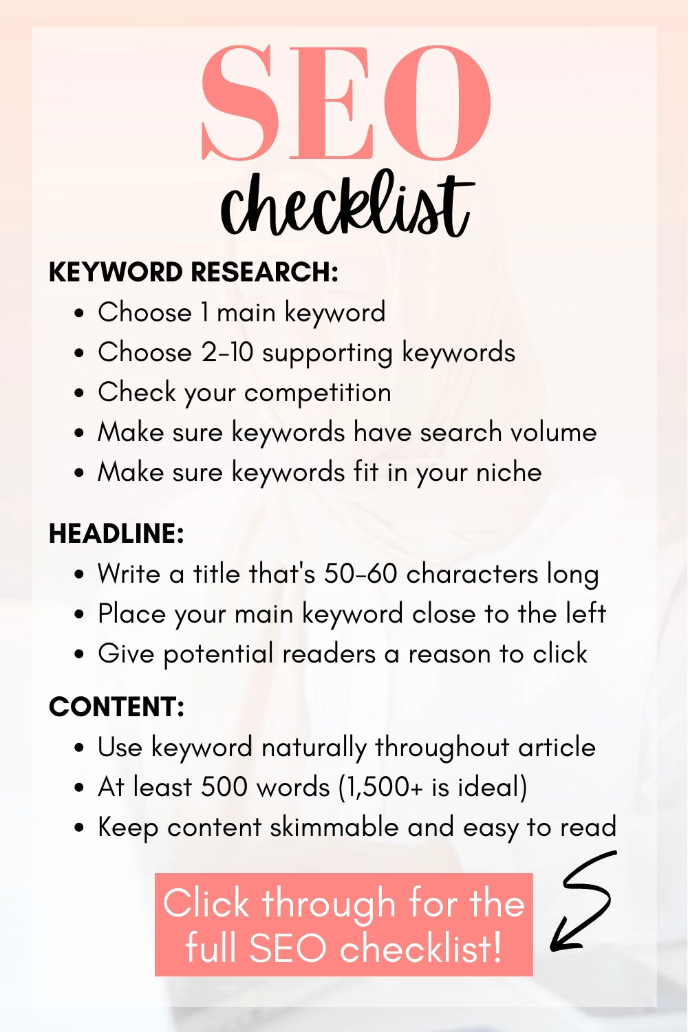 Infografia - ✅ Free 38-Item SEO Checklist for Bloggers in 2021: On Page and Off Page SEO Checklist