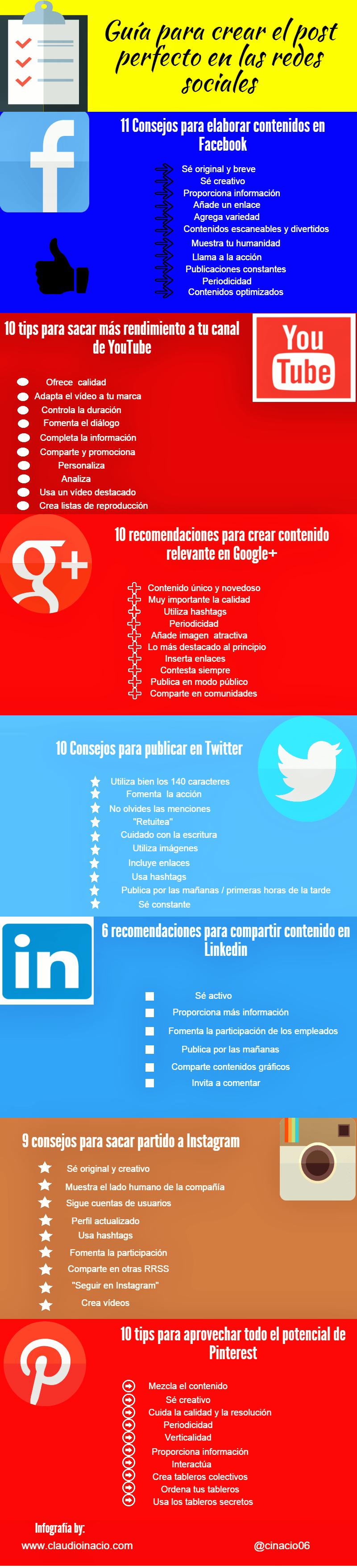 Infografia - Infografía – Guía de cómo crear el post perfecto en redes sociales