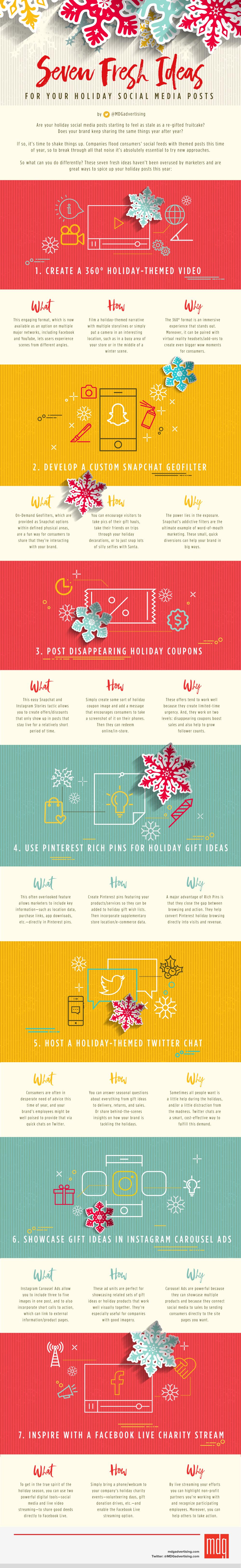 7 ideas frescas para contenido de Navidad en Redes Sociales #infografia #marketing #socialmedia