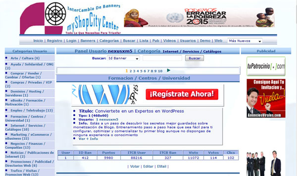 Intercambio de Banner 5×1 Web Dinamica Personalizable de Referidos