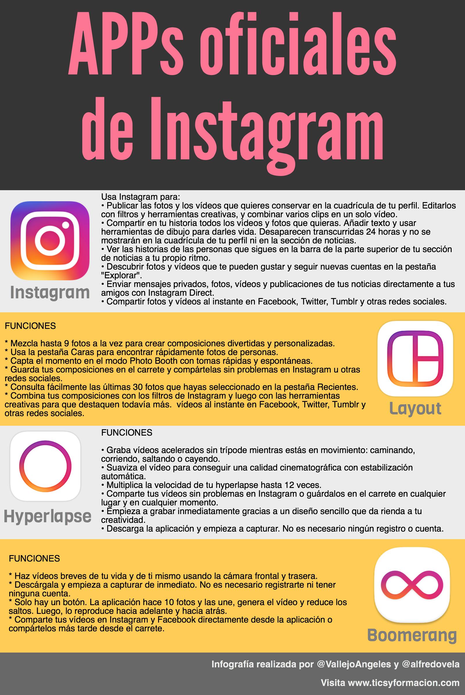 APPs oficiales de Instagram #infografia #infographic #socialmedia