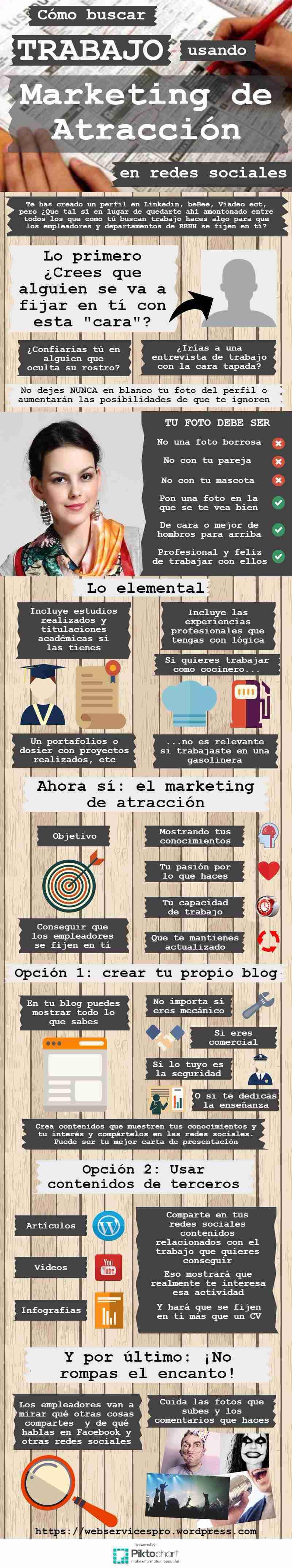 Buscar trabajo con marketing de atracción en Redes Sociales #infografia #marketing #empleo