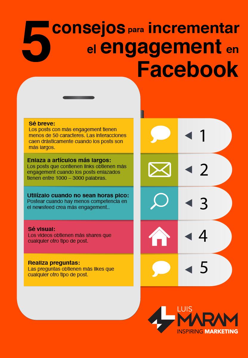 5 consejos para aumentar el engagement en Facebook #infografia #socialmedia
