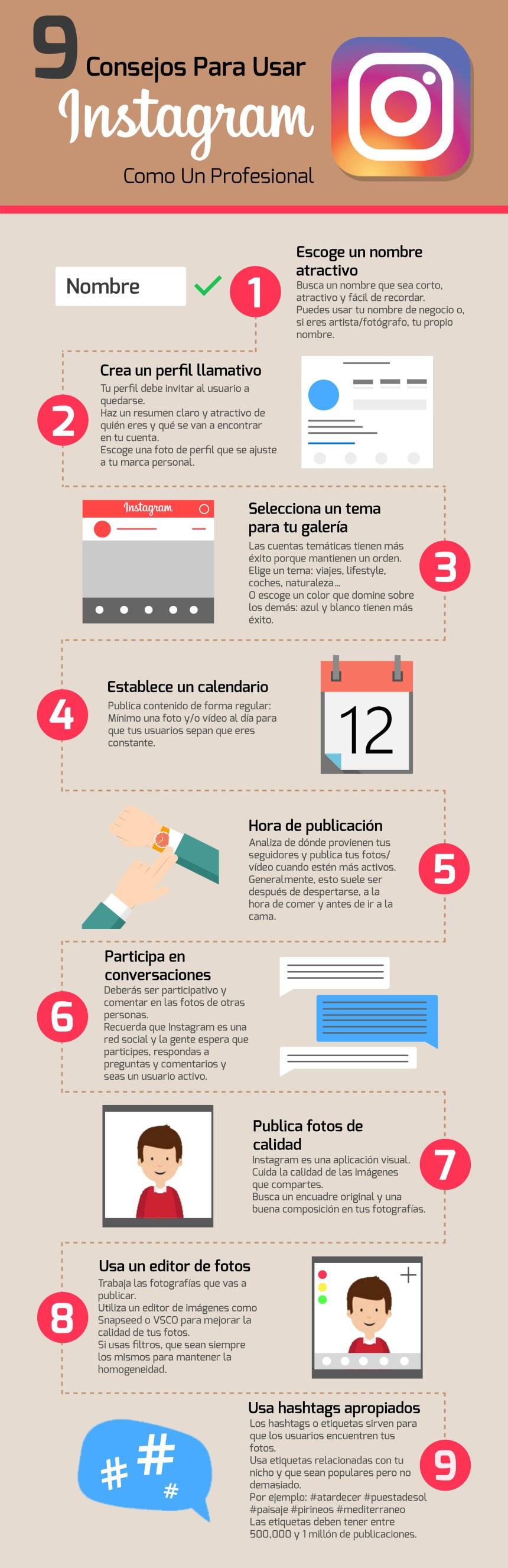 9 consejos para usar Instagram como un profesional #infografia #infographic #socialmedia