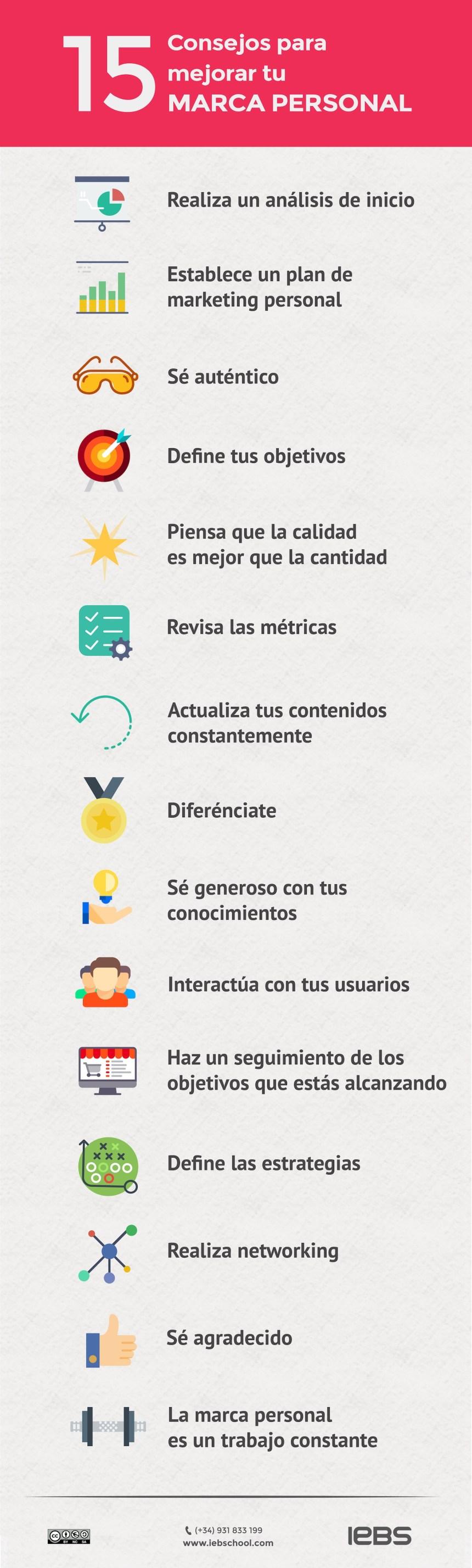 15 consejos para mejorar tu Marca Personal #infografia #marketing #marcapersonal