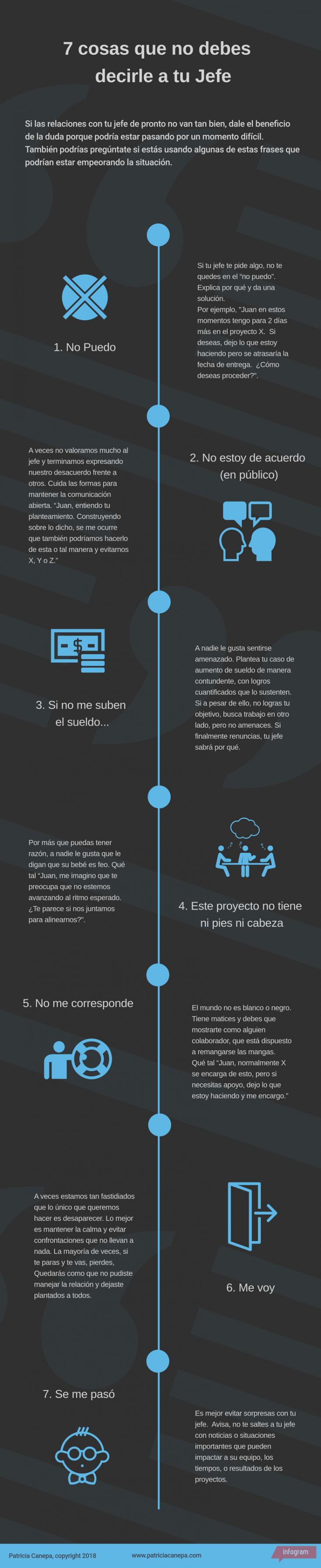 7 cosas que no debes de decir a tu jefe #infografia #infographic #rrhh
