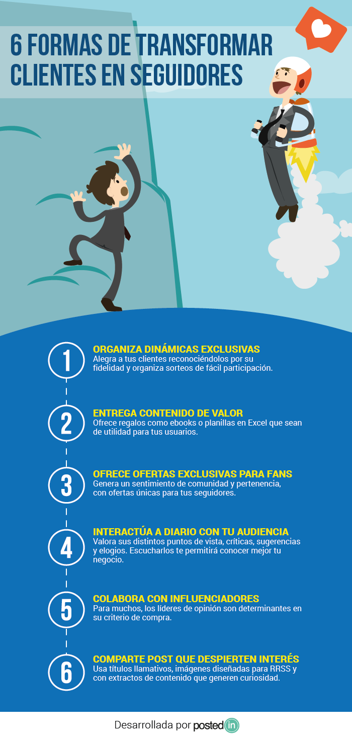 6 formas de transformar clientes en seguidores #infografia #infographic #marketing