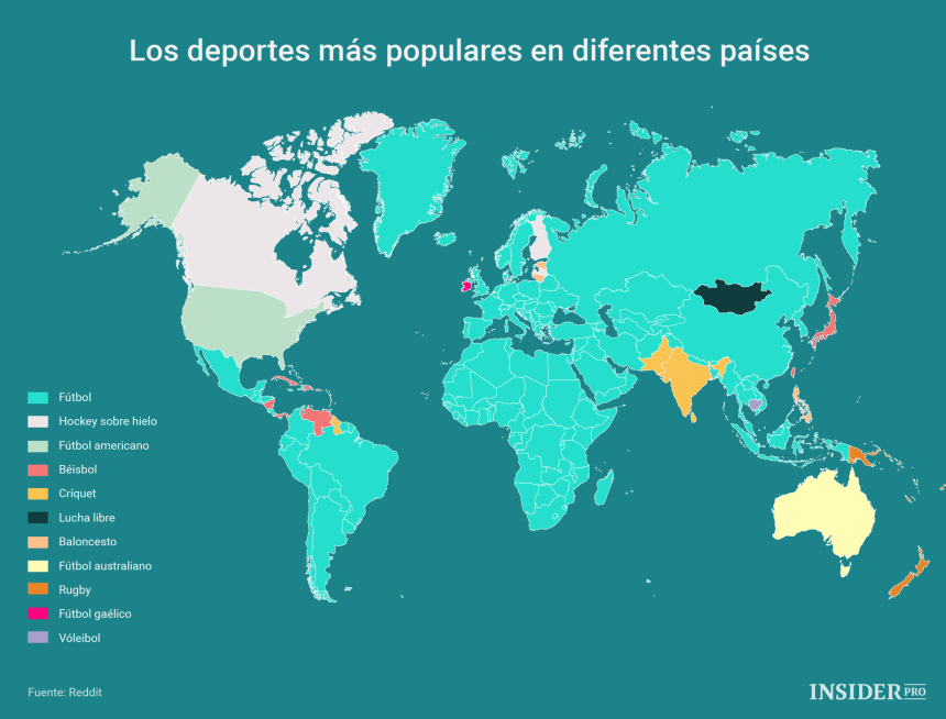 Los deportes más populares en diferentes países #infografia #infographic