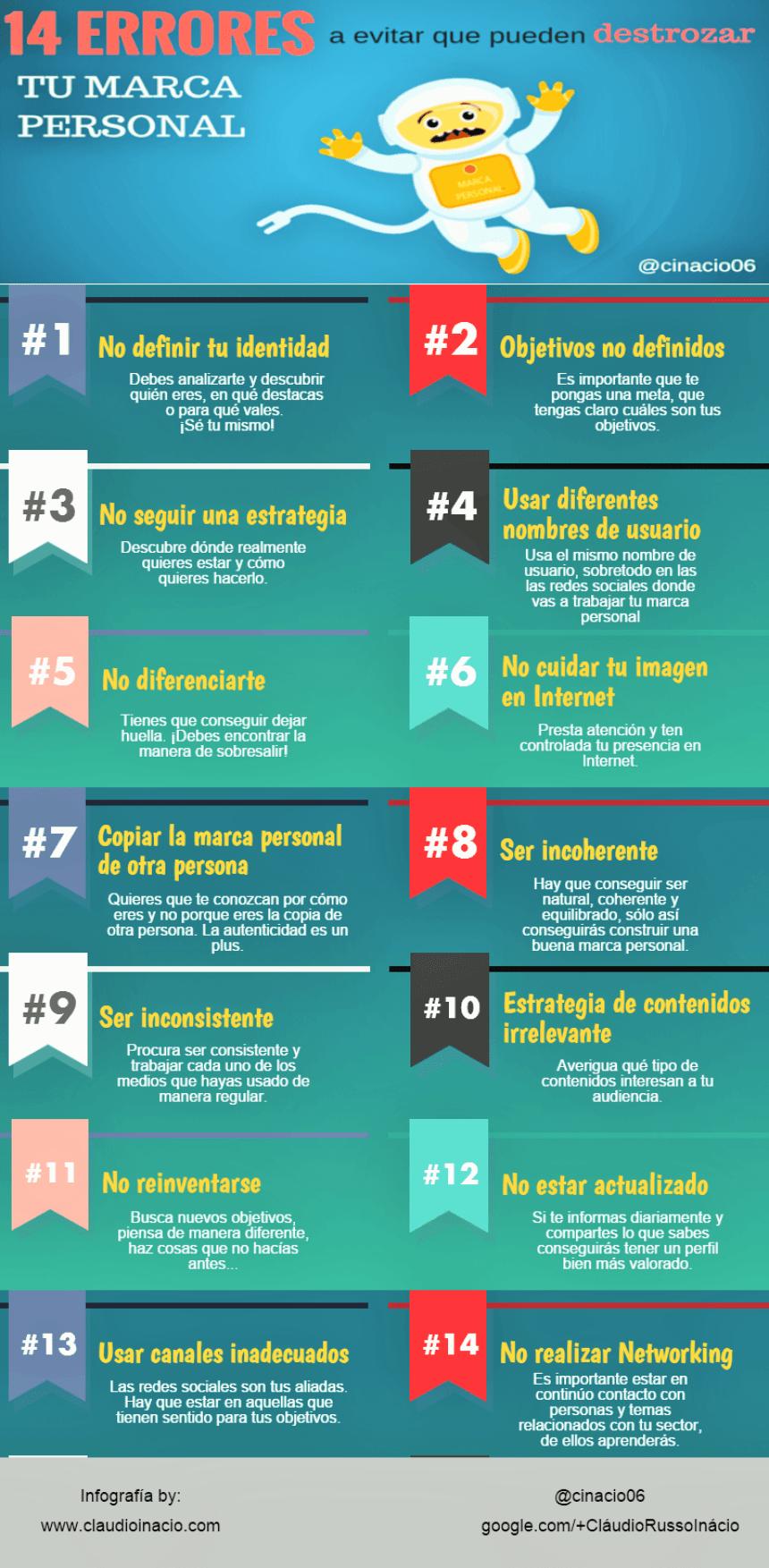 14 errores a evitar con tu Marca Personal #infografia #infographic #marcapersonal