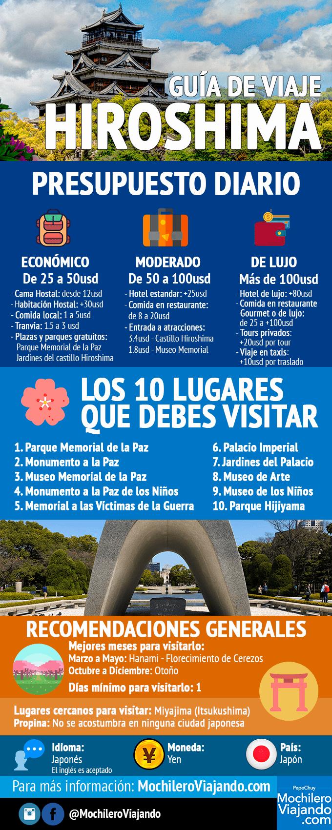 Hiroshima: Guía de viaje #infografia #infographic #tourism